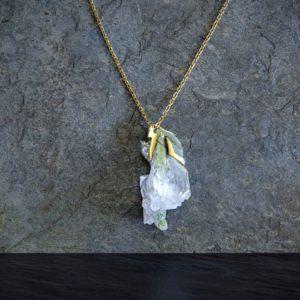 collar de cuarzo y oro-alta joyeria_piezza unica