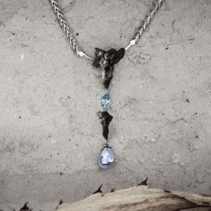 collar meteorito aguamarina de fiji y oro