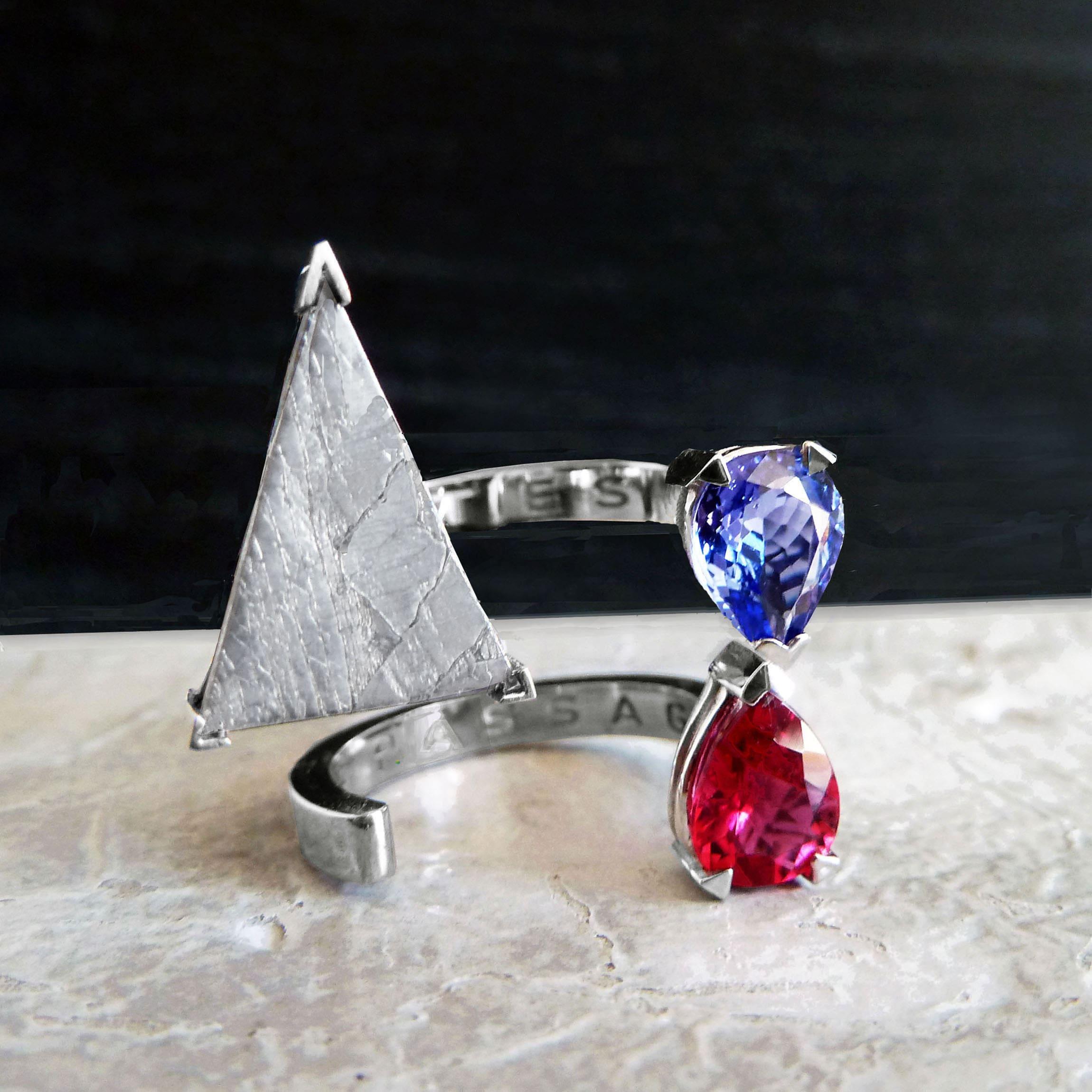 anillo oro- ribelia y tanzanita-alta joyeria