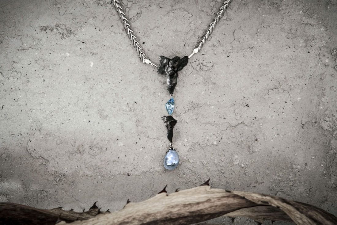 collar alta joyeria aguamarina perla fiji-oro y meteorito